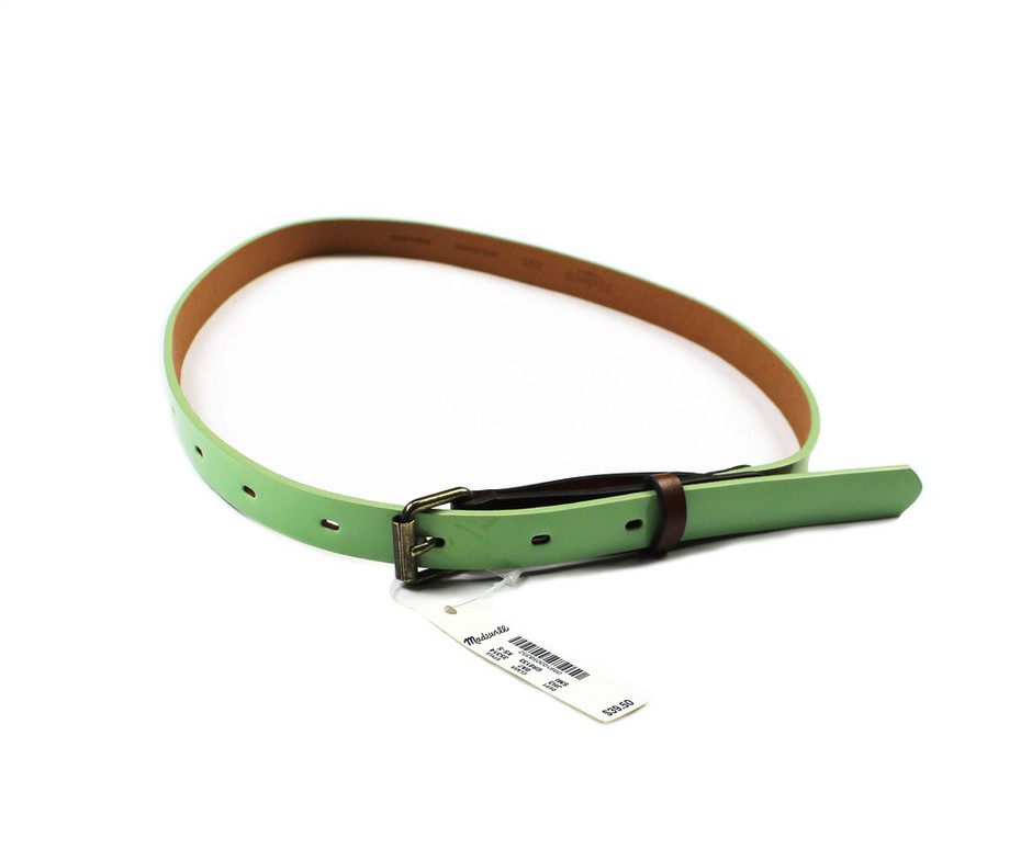 Deadstock Madewell Patent Leather Green Belt WOMENS Size XS-S   Vintage Mens Goods