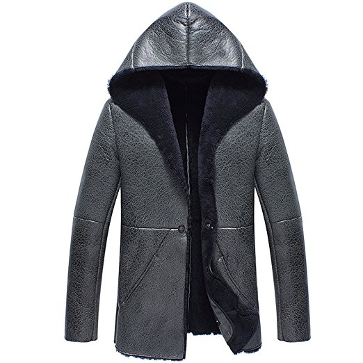 CWMALLS Mens Shearling Sheepskin Jacket with Hood CW838015 at Amazon Men's Clothing store: