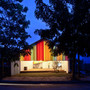 a21studio shades the chapel with colorful curtains in ho chi minh city