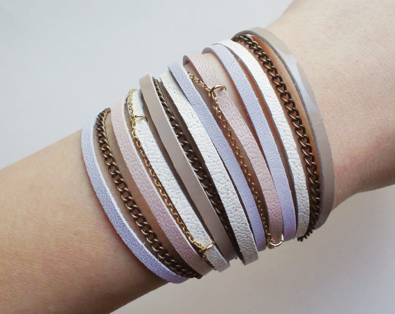 layered cuff with leather & chain in pastel pink by QUOLIAL