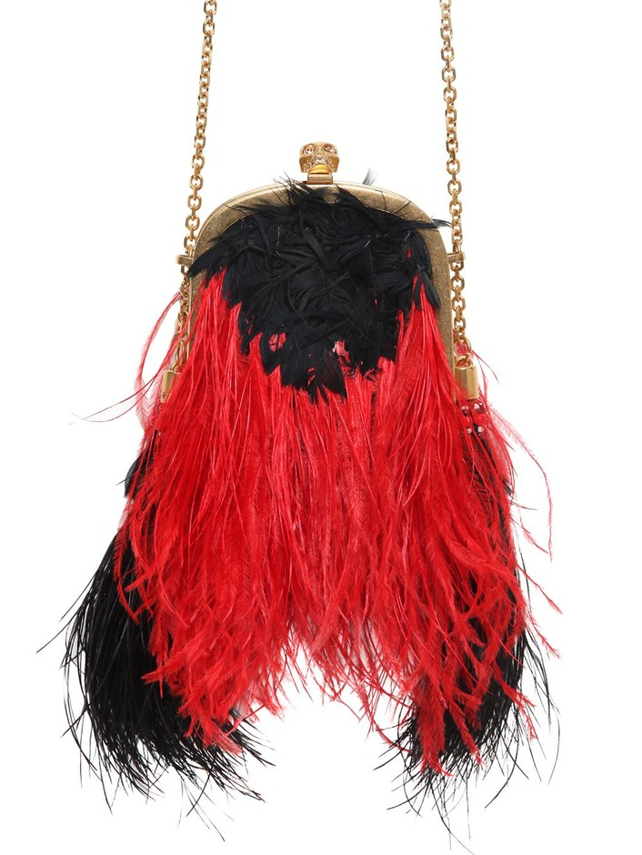 ALEXANDER MCQUEEN - FAUX OSTRICH FEATHER SHOULDER BAG - LUISAVIAROMA - LUXURY SHOPPING WORLDWIDE SHIPPING - FLORENCE