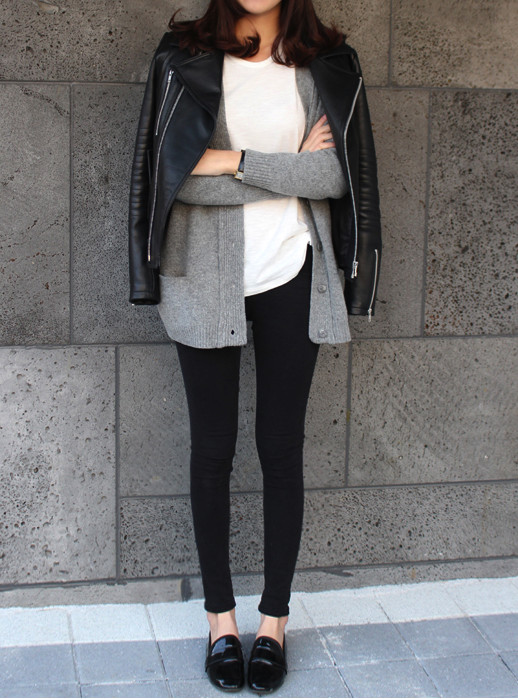 Le Fashion: Weekend Inspiration: Casual In A Leather Jacket + Cardigan