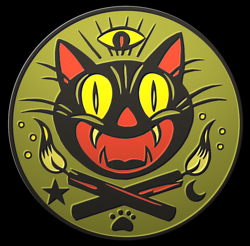 """The Creeping Museum — """"The Loyal Order of the Black Cat"""" badge in All-Seeing Cat's Eye Green"""
