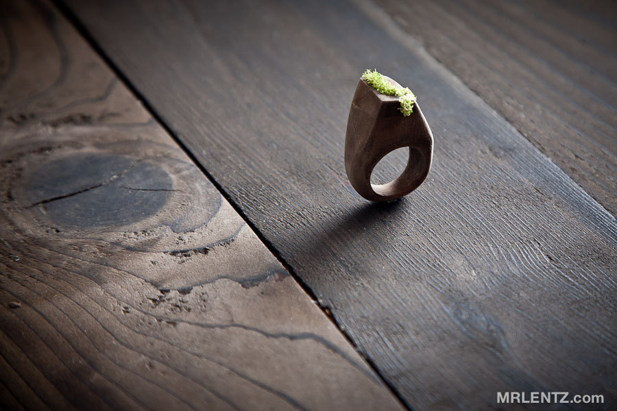 All Natural Wood and Moss Ring by MrLentz on Etsy
