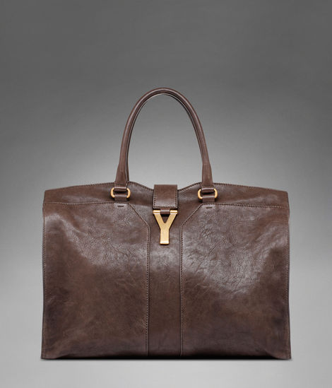 Large YSL Cabas Chyc in Dark Brown Leather - New - Handbags - Women - Yves Saint Laurent - YSL