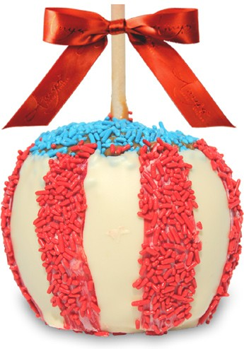 Red, White and Blue Caramel Apple w/ White Belgian Chocolate