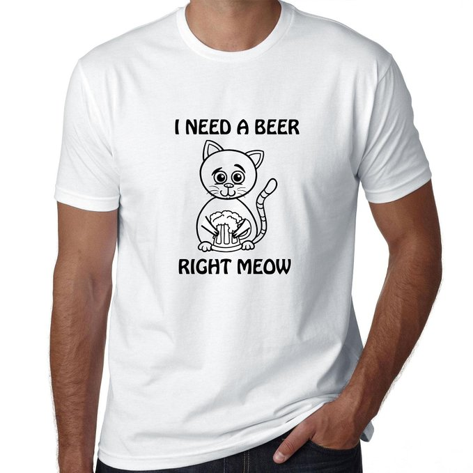 Beer Cat - I Need A Beer Right Meow - Funny Men's T-Shirt | Amazon.com
