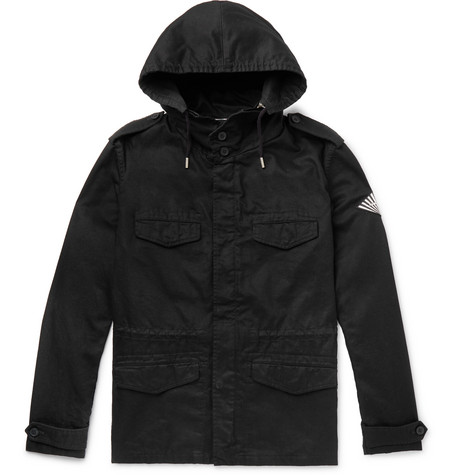 SAINT LAURENT - Cotton and Ramie-Blend Twill Hooded Field Jacket