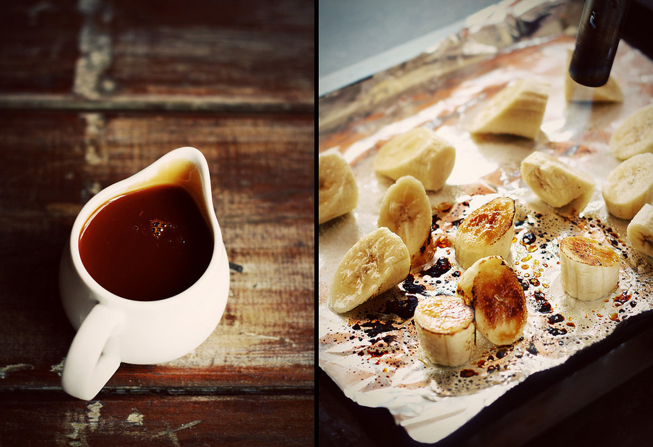 Coconut Pancakes with Grilled Bananas and Salted Caramel Rum Sauce - Citrus and Candy