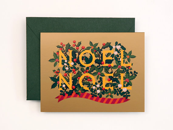 NEW Noel Christmas Card for Holidays Gold by clapclapdesign