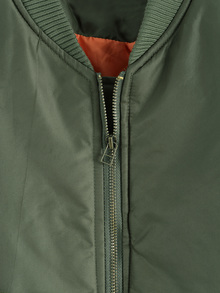 Letter Print Zipper Army Green Jacket