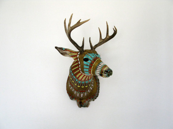 Handpainted Taxidermy Deer Head Custom by MadeByCassandraSmith