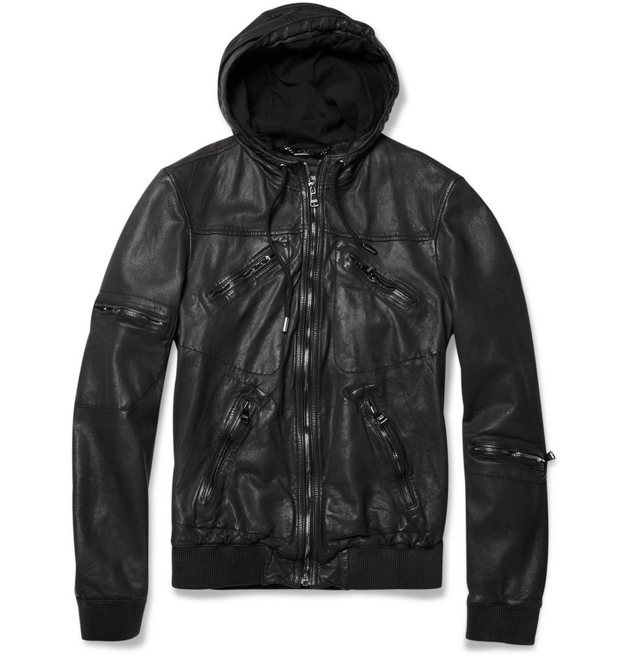 Dolce & Gabbana?Hooded Leather Jacket?|?MR PORTER