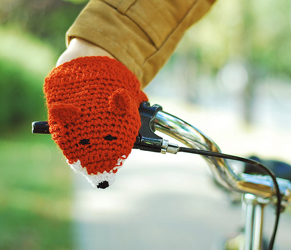 Bike Fox Hand Warmers Gloves Wool Crochet Autumn by warmYourself