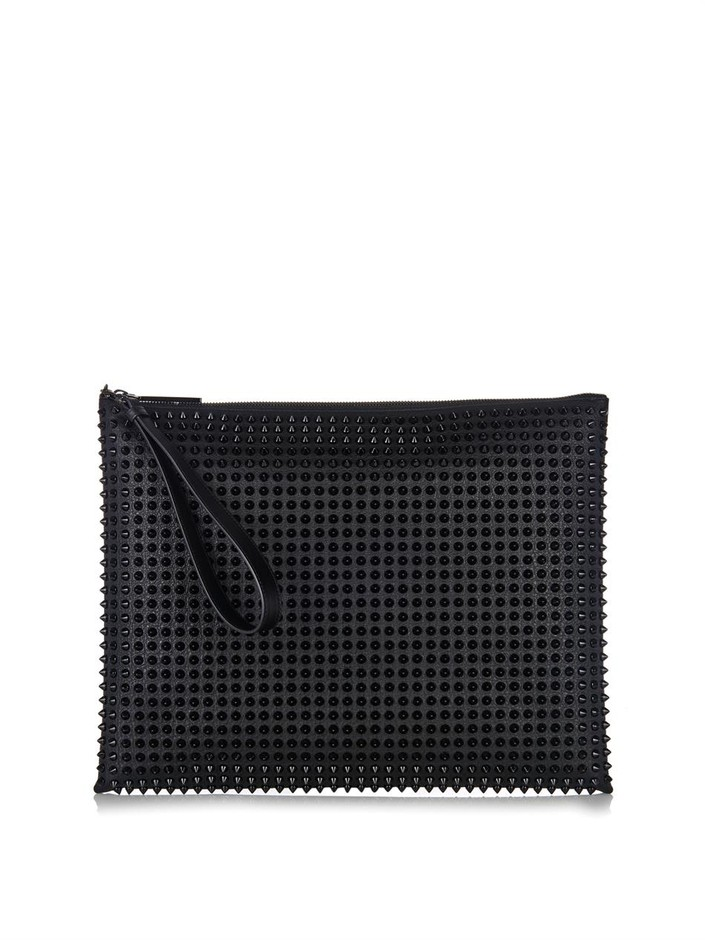 Peter studded leather pouch   Christian Louboutin   MATCHESFAS...
