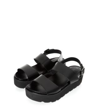 Black Cleated Sole Strap Sandals
