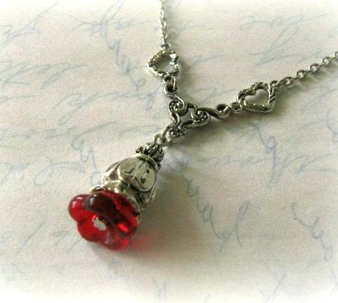 Red Flower Bud Necklace Jewelry With Antiqued Silver Heart Charms | Luulla