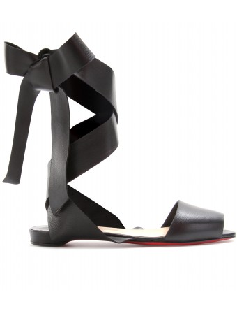 mytheresa.com - Christian Louboutin - MINIMA LEATHER RIBBON-TIE BALLERINAS - Luxury Fashion for Women / Designer clothing, shoes, bags