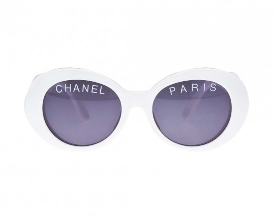"【LASO ラソ】【VINTAGE 1点もの◆早期完売】CHANEL ""CHANEL PARIS"" LOGO WHITE SUNGLASSES シャネル"