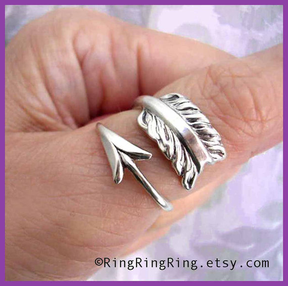 925 Solid Sterling Silver ring Cupid's arrow ring by RingRingRing