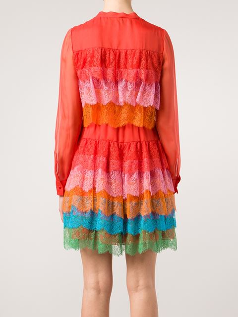 Valentino Tiered Lace Dress - The Corner Berlin - Farfetch.com