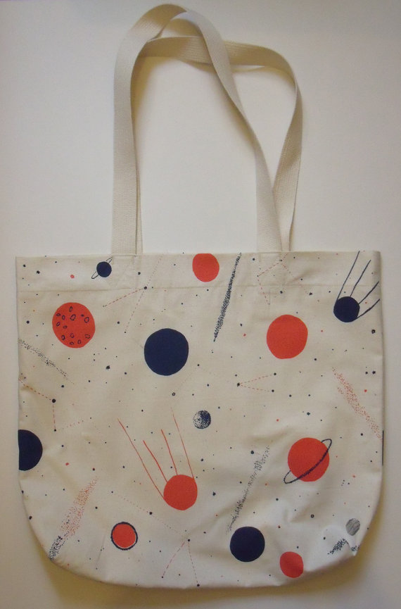Planets Screen Print Space Bag by caitlinhinshelwood on Etsy