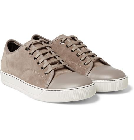 Lanvin - Cap-Toe Suede and Leather Sneakers
