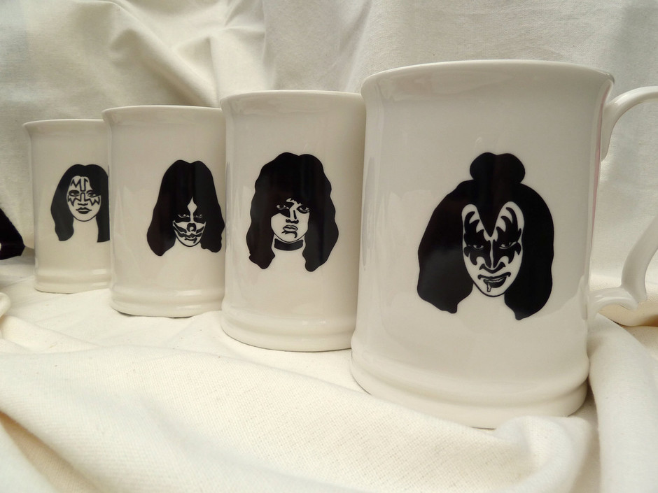 Set of 4 Kiss Beer Steins FREE SHIPPING by milestonedecalart