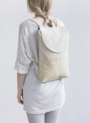 BACKPACK II WHITE : mum & co | handmade leather goods