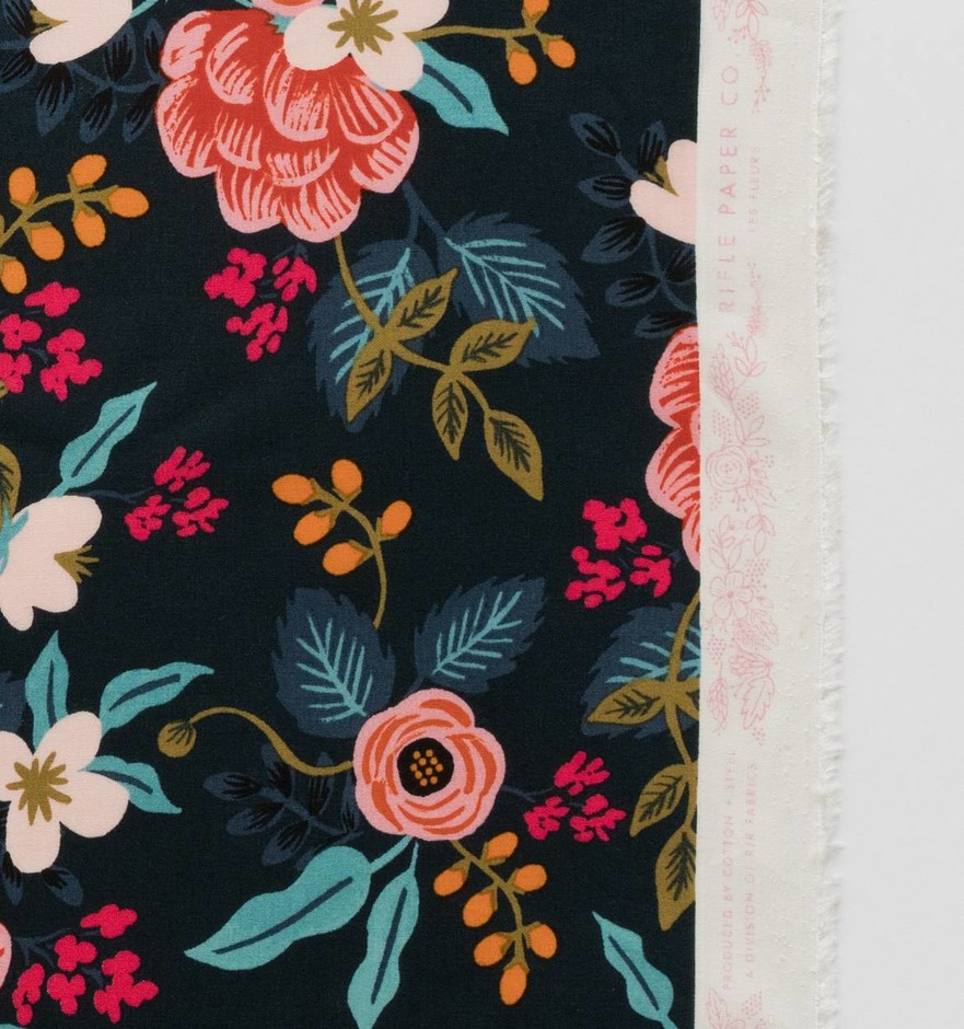 Birch Floral (Navy) Rayon Fabric by Cotton + Steel   Made in Japan