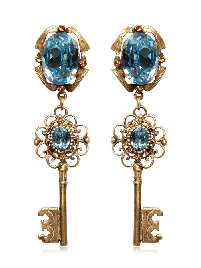 DOLCE & GABBANA - KEY PENDANT EARRINGS - LUISAVIAROMA - LUXURY SHOPPING WORLDWIDE SHIPPING - FLORENCE