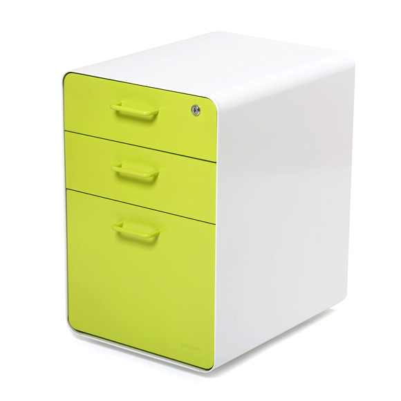 White + Lime Green West 18th File Cabinet