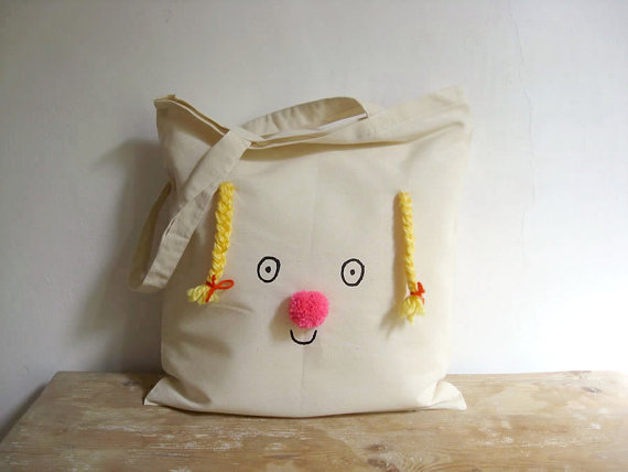 Tote bag on cotton Miss Sunshine happy face with by misakomimoko