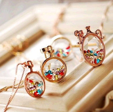 Colorful Perfume Wishing Bottle Crystal Necklace on Luulla