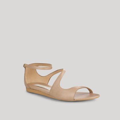 Pebble Astor Faux Nappa Flat Ankle Strap Sandal 005mm