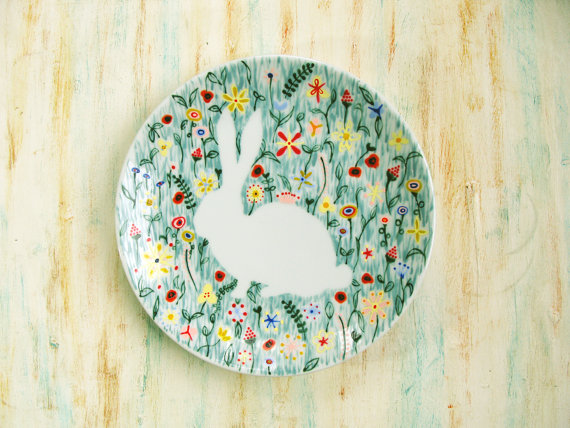 Hand painted porcelain plate Bunny rabbit in by roootreee on Etsy