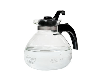 12 Cup Glass Stovetop Whistling Tea Kettle