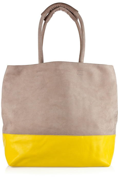 Newbark taupe and bright-yellow two-tone leather tote /  All Handbag Fashion