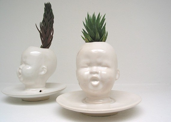 Etsy Transaction - Modern White Baby Head Vase / Planter by Mudpuppy