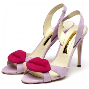 Rupert Sanderson | Frisia in Lilac and Fuchsia Suede | High Heel Sling Back