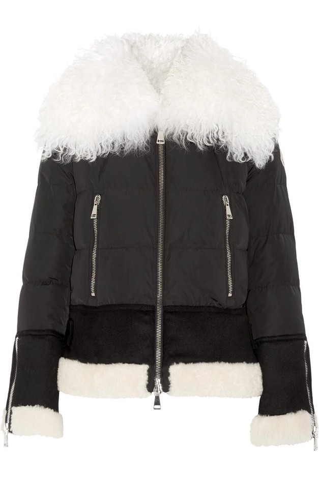 Moncler | Kikilia shearling-trimmed quilted shell down jacket | NET-A-PORTER.COM