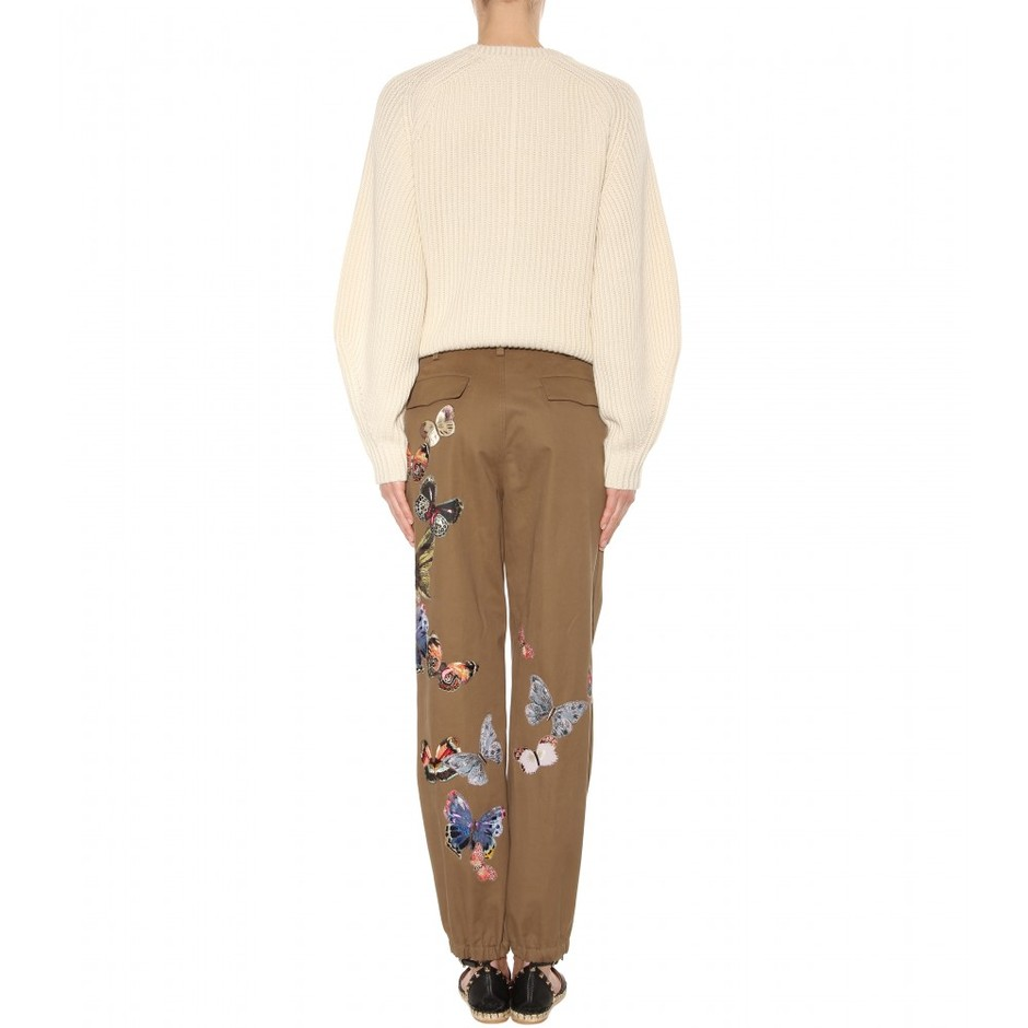 mytheresa.com - Embroidered cotton trousers - Wide-leg - Trousers - Clothing - Valentino - Luxury Fashion for Women / Designer clothing, shoes, bags