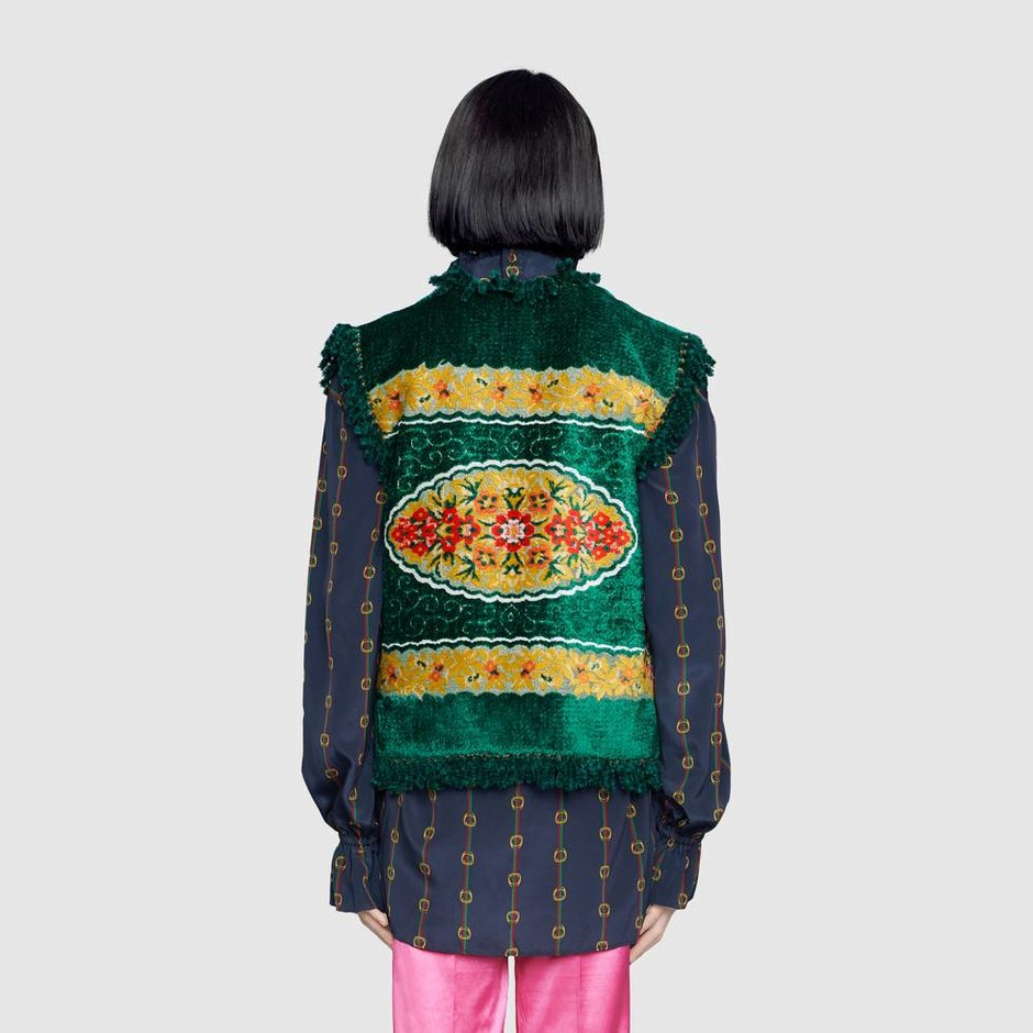 Floral velvet jacquard vest in Green, yellow and multicolor floral velvet lurex jacquard   Gucci Men's Leather & Casual Jackets