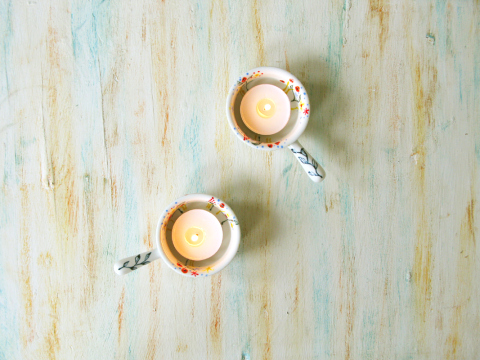 Pair of hand painted tealight candle holders by roootreee on Etsy