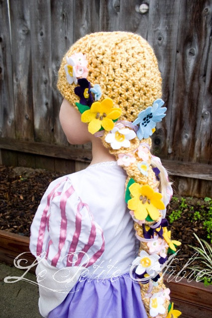 Child Rapunzel Hair Crochet Hat with Braid by lepetitearbre