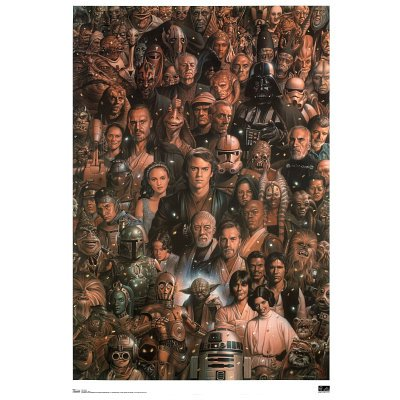 """Amazon.com: Star Wars ~ Star Wars Poster ~ Rare Art Collage of Characters!!!~ 24"""" x 36"""": Home & Kitchen"""