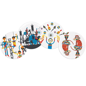 Browsing Store - Menagerie Coasters Set of 12