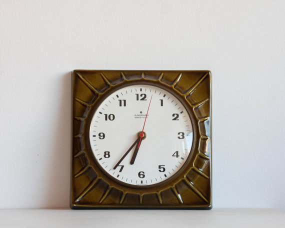 Vintage Kitchen Clock Ceramic Electronic Wall by TheThingsThatWere