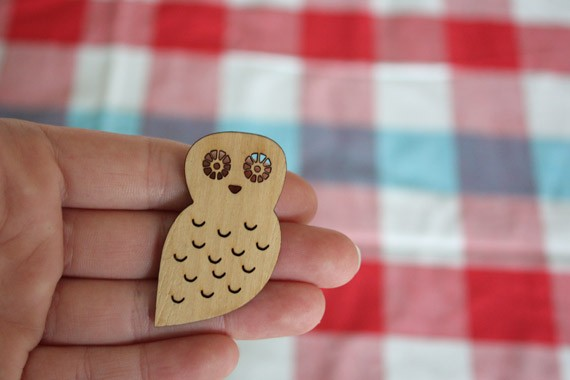 Little Miss Owl Wooden Owl Brooch by paperama on Etsy