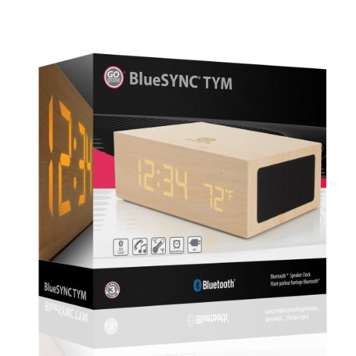 Amazon.com: GOgroove BlueSYNC TYM Bluetooth Wireless Stereo Speaker & Wooden Alarm Clock w/ LED Time + Temperature Display for Phones, MP3 Players, Tablets, & More: Electronics